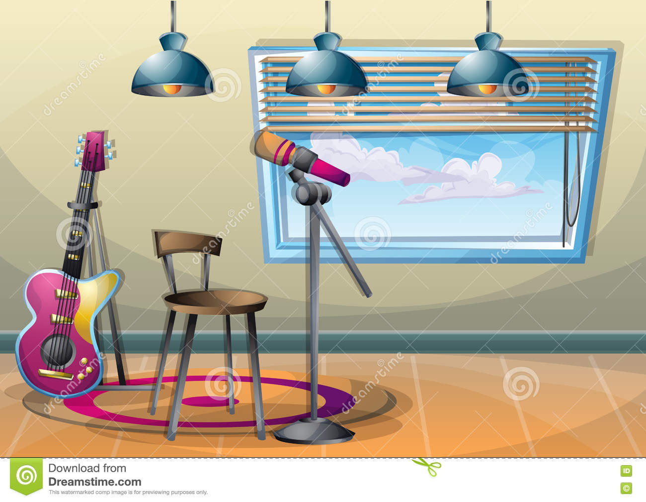 chair design icons slipcover oversized cartoon vector illustration interior music room with separated layers stock - image: 77445667