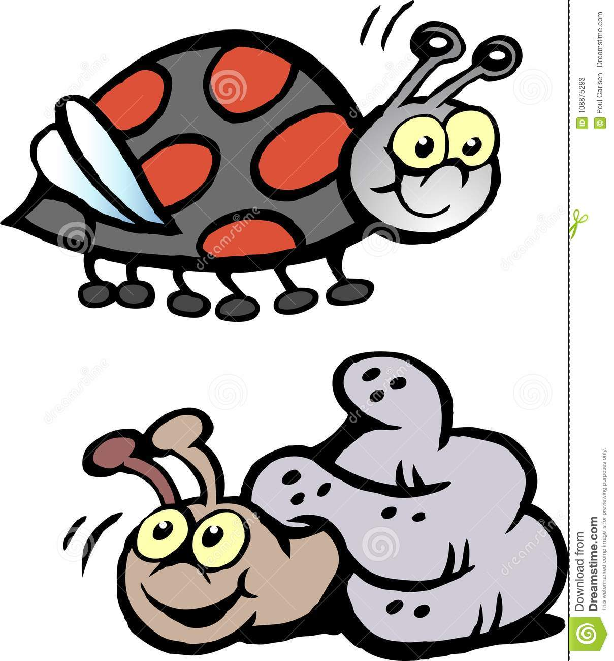 hight resolution of cartoon vector illustration of a ladybug and a snail