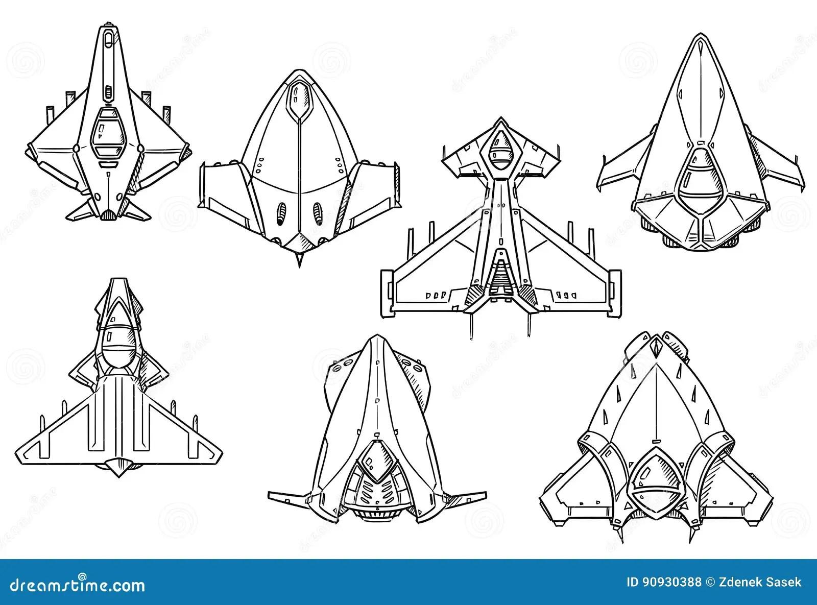 Cartoon Vector Set Of Spaceship Spacecraft Designs Stock