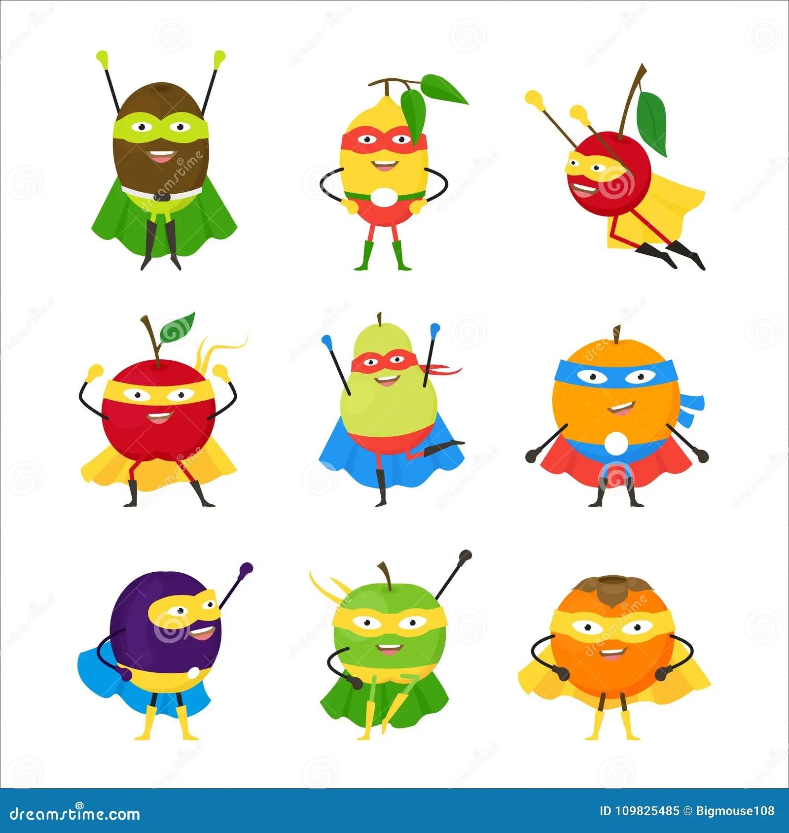 Cartoon Vegetables Superhero Characters Icon Set Vector