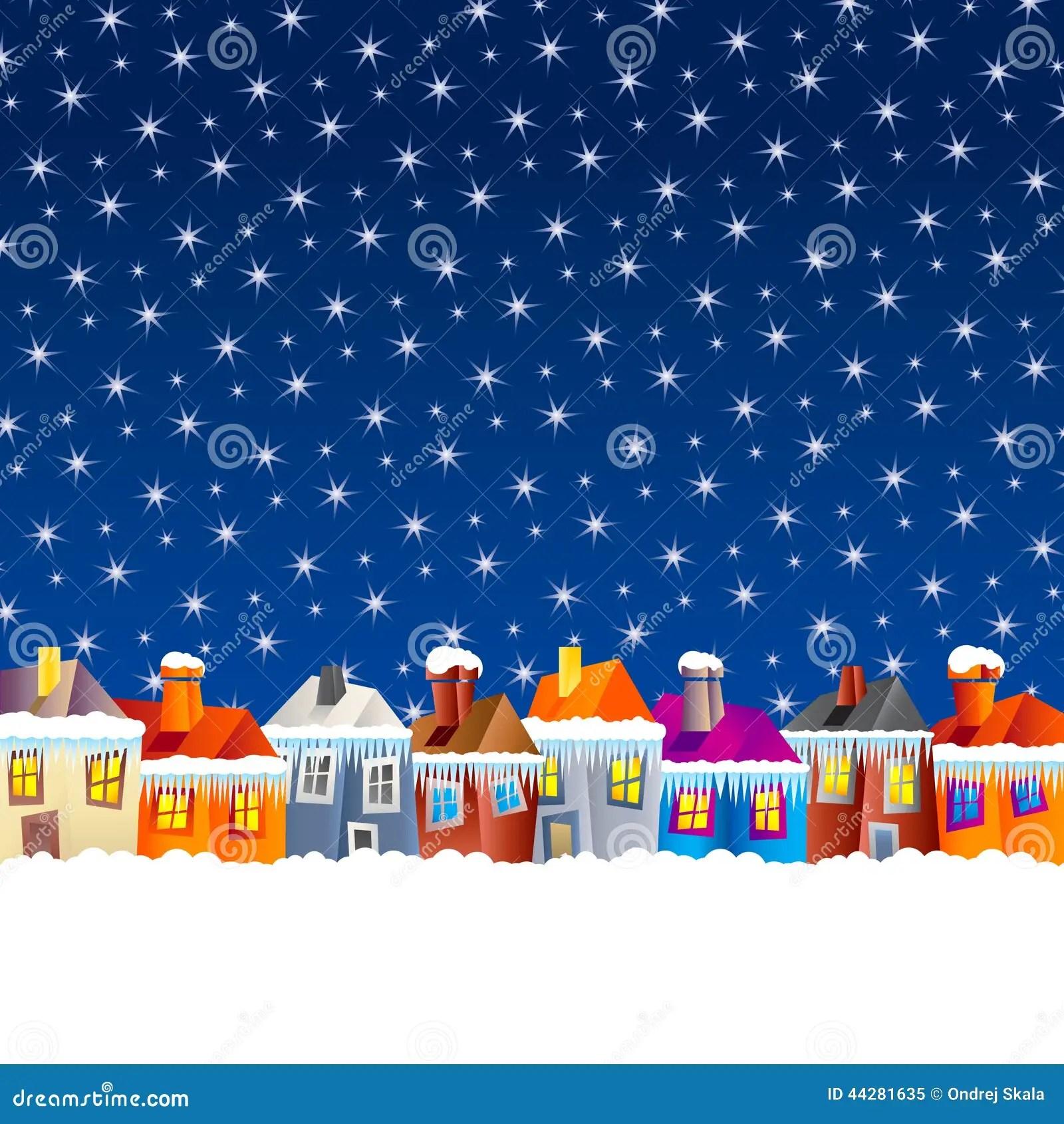 Cartoon Village Houses In Winter Stock Vector  Image
