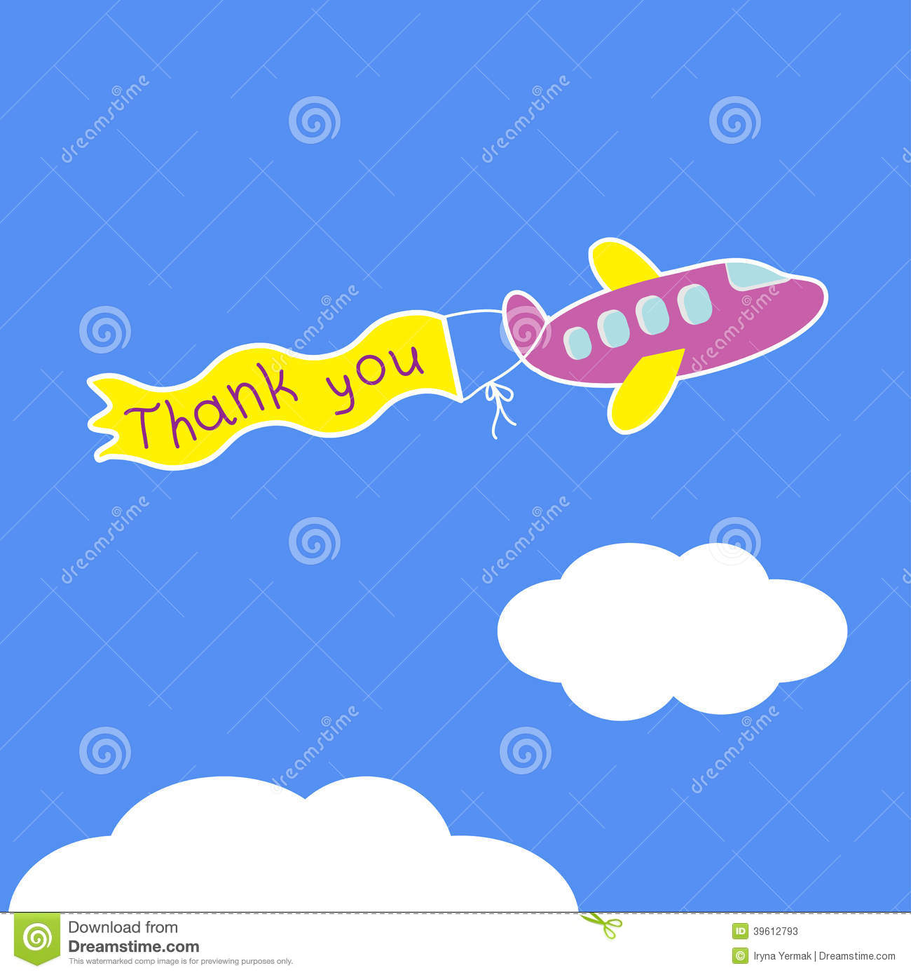 Cartoon Violet Plane Ribbon With Words Thank You Stock
