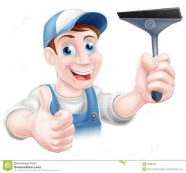 window cartoon cleaner squeegee vector giving holding mr