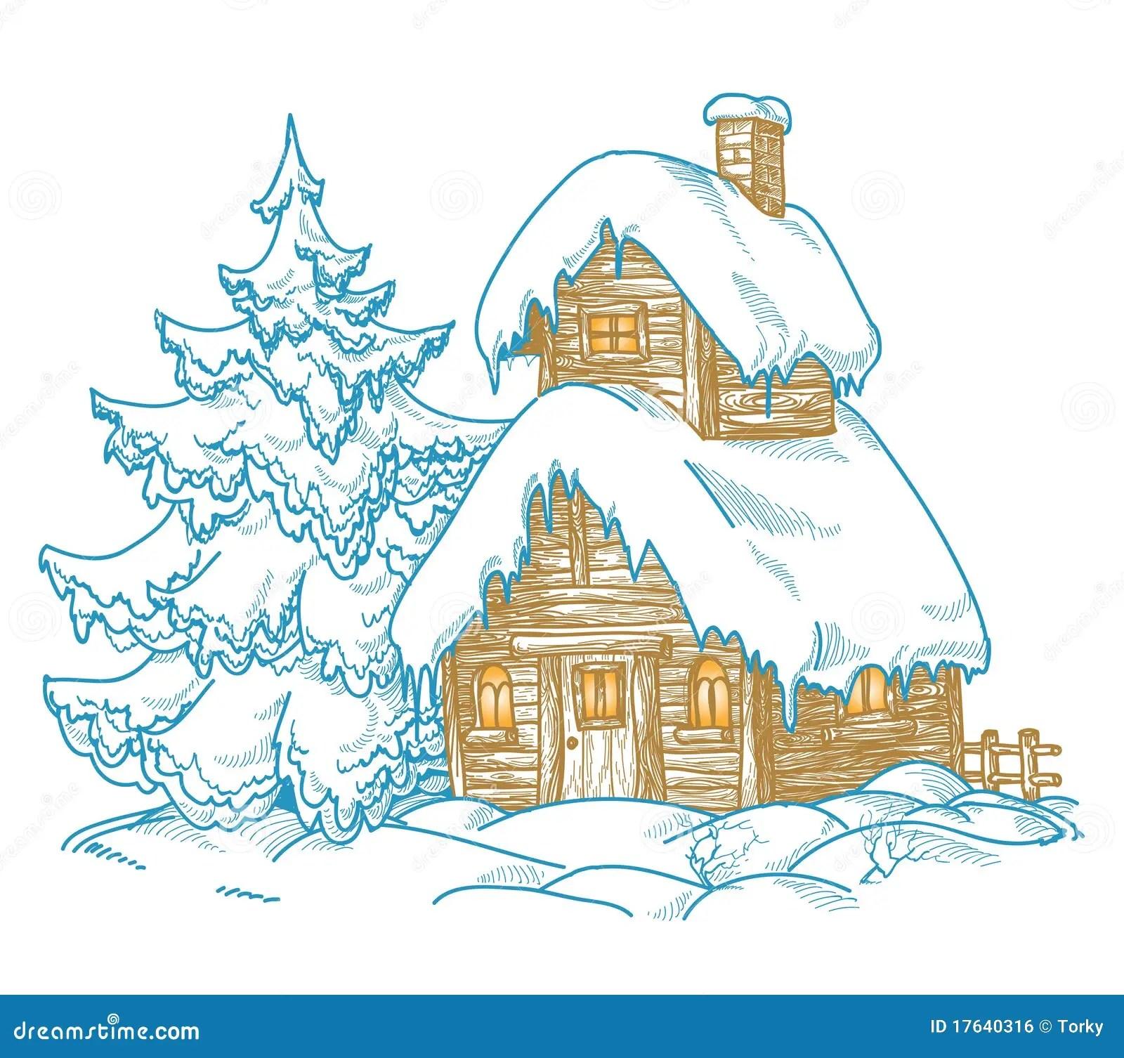 Cartoon winter scene stock vector. Illustration of cold - 17640316