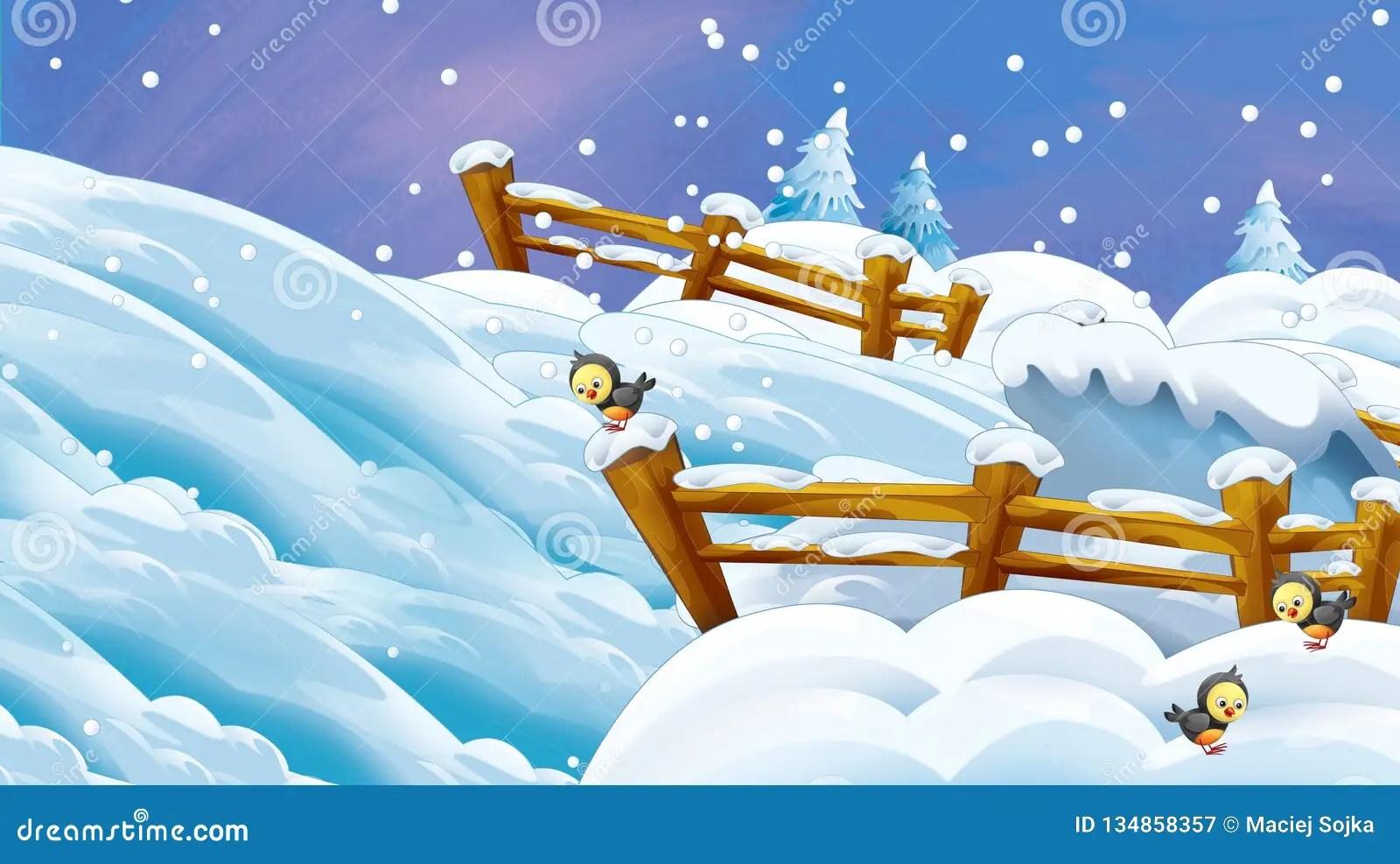 Cartoon Winter Scene With Falling Snow Stock Illustration - Illustration of kindergarten. gift: 134858357