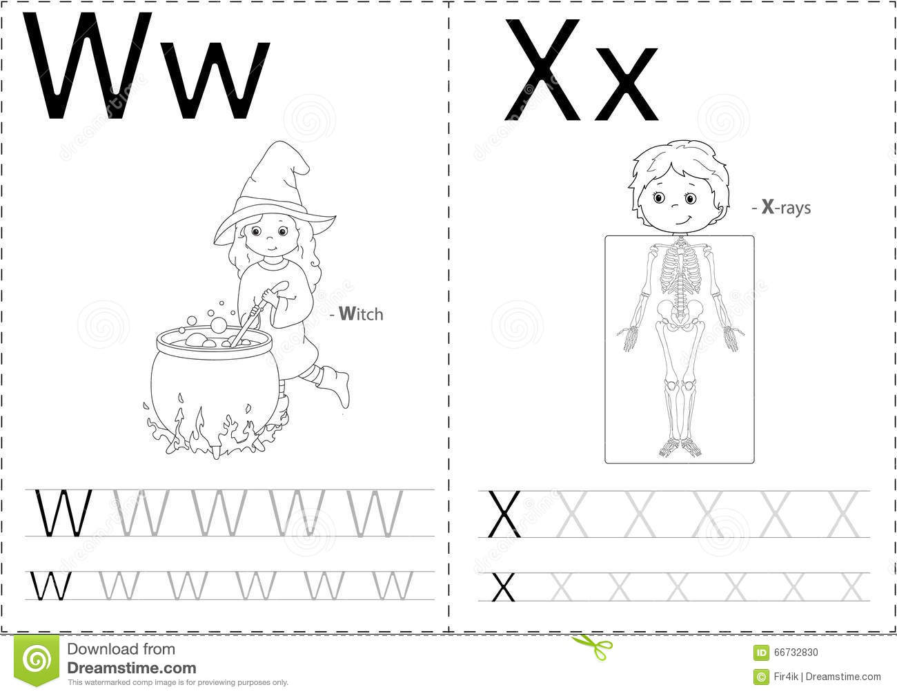Cartoon Witch And X-rays. Alphabet Tracing Worksheet Stock