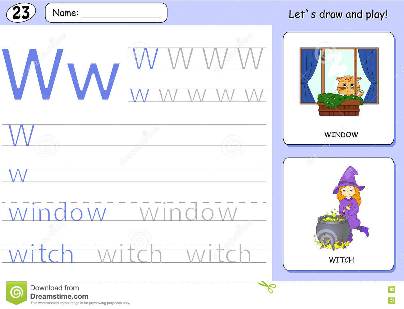 Cartoon Witch And Window Alphabet Tracing Worksheet Stock
