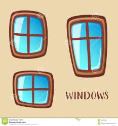 cartoon windows wooden collection illustration preview