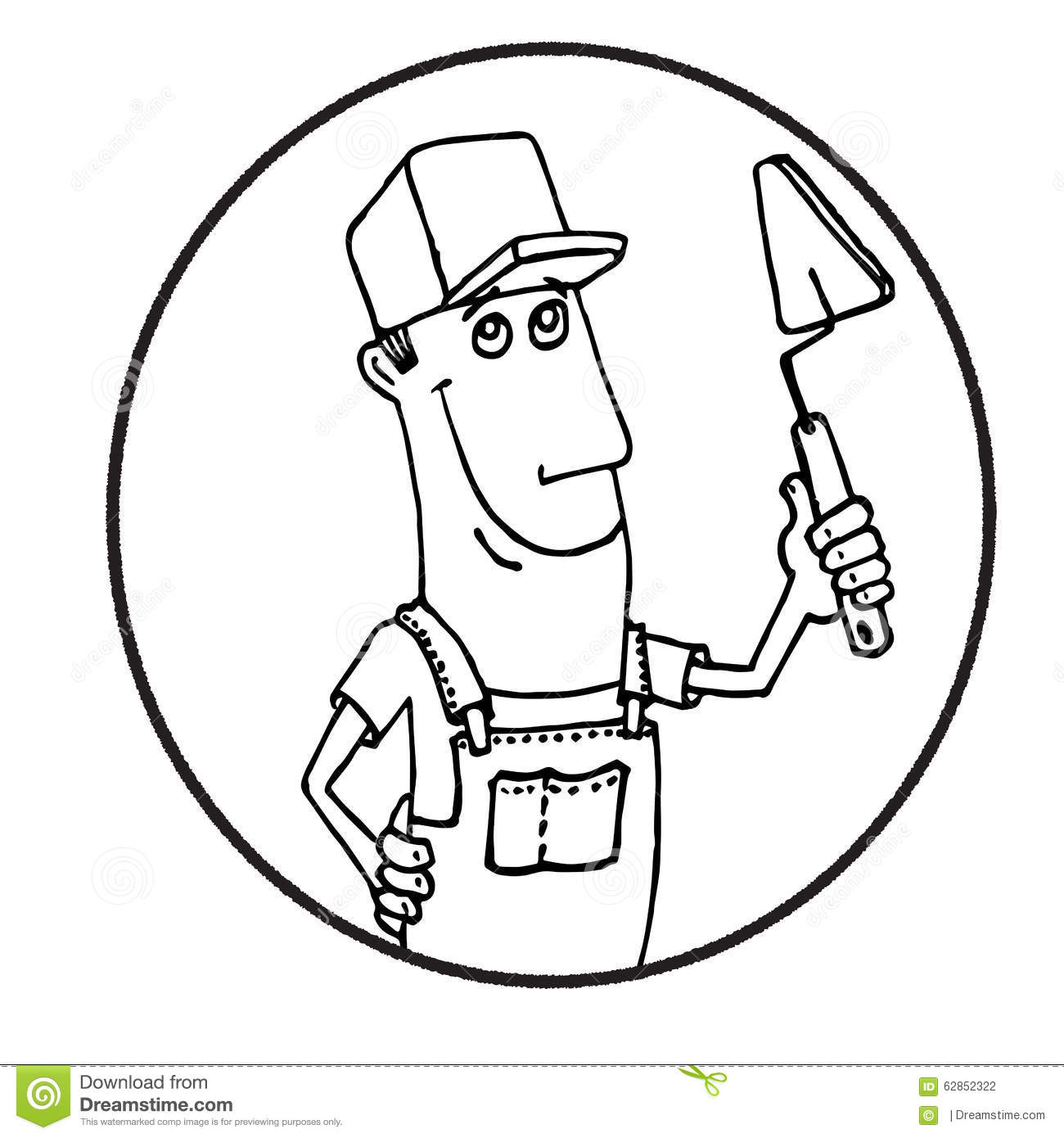 Cartoon Construction Worker Logo Vector Illustration