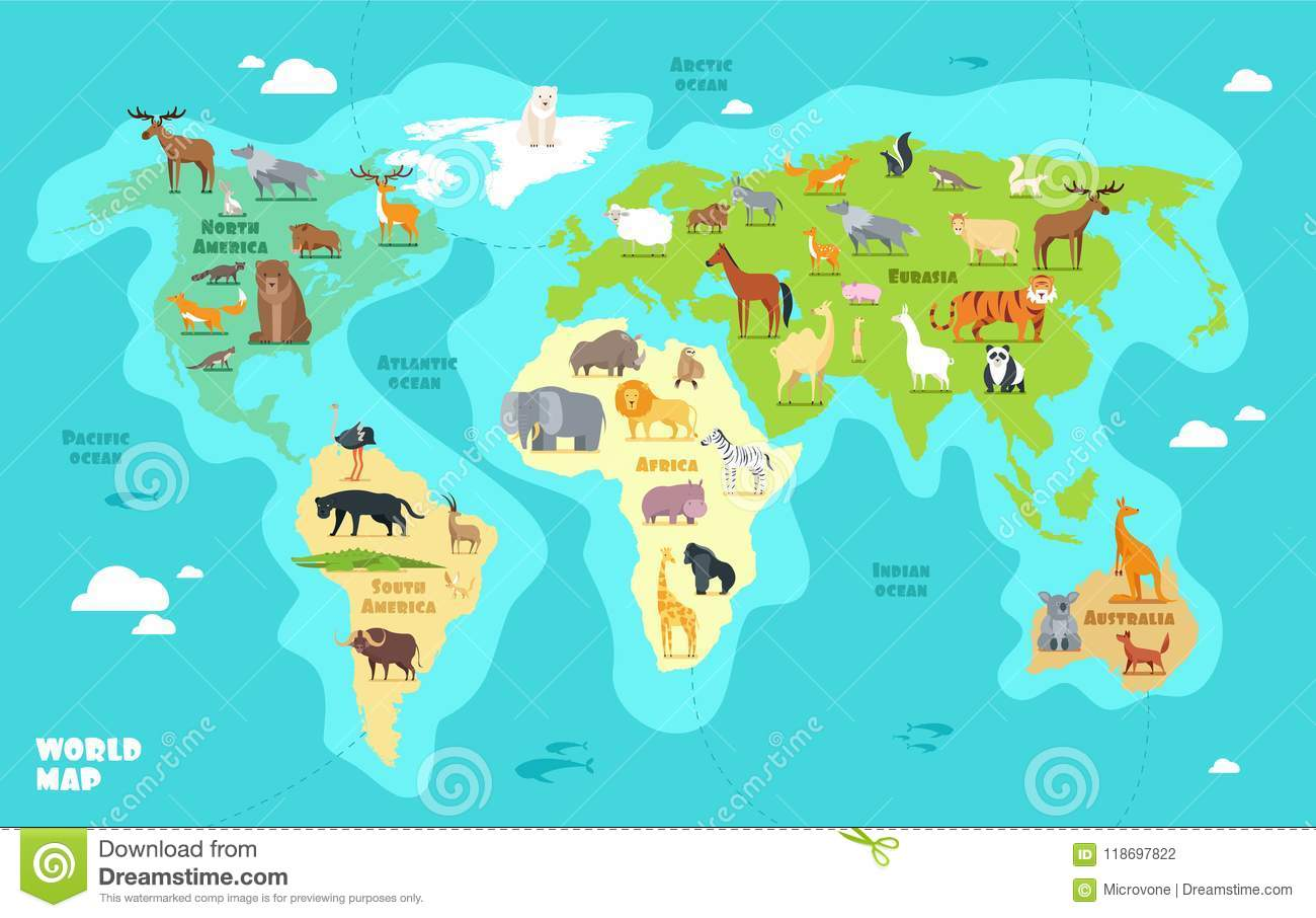 Cartoon World Map With Animals Oceans And Continents