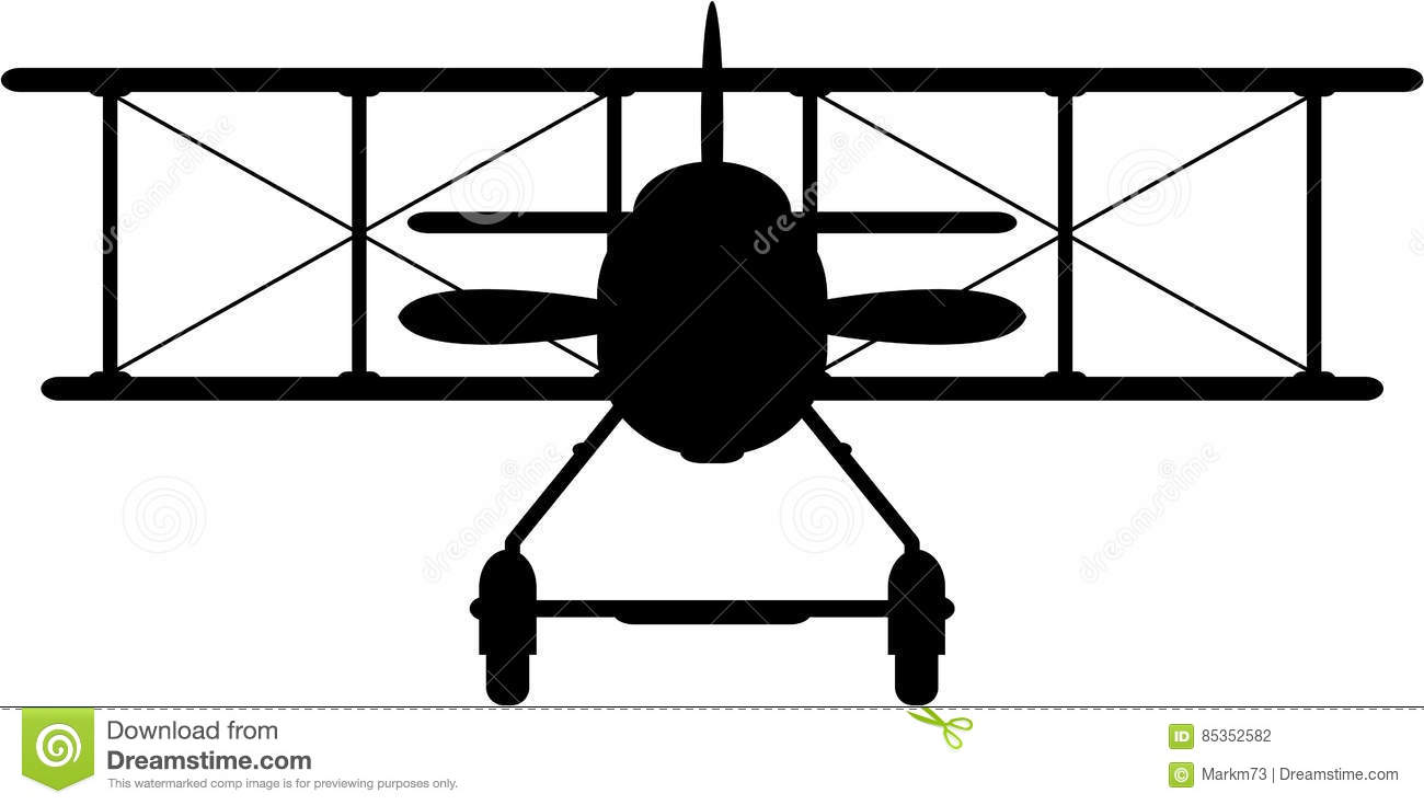 hight resolution of side view vector illustration of a world war one classic biplane in silhouette an eps file is also available
