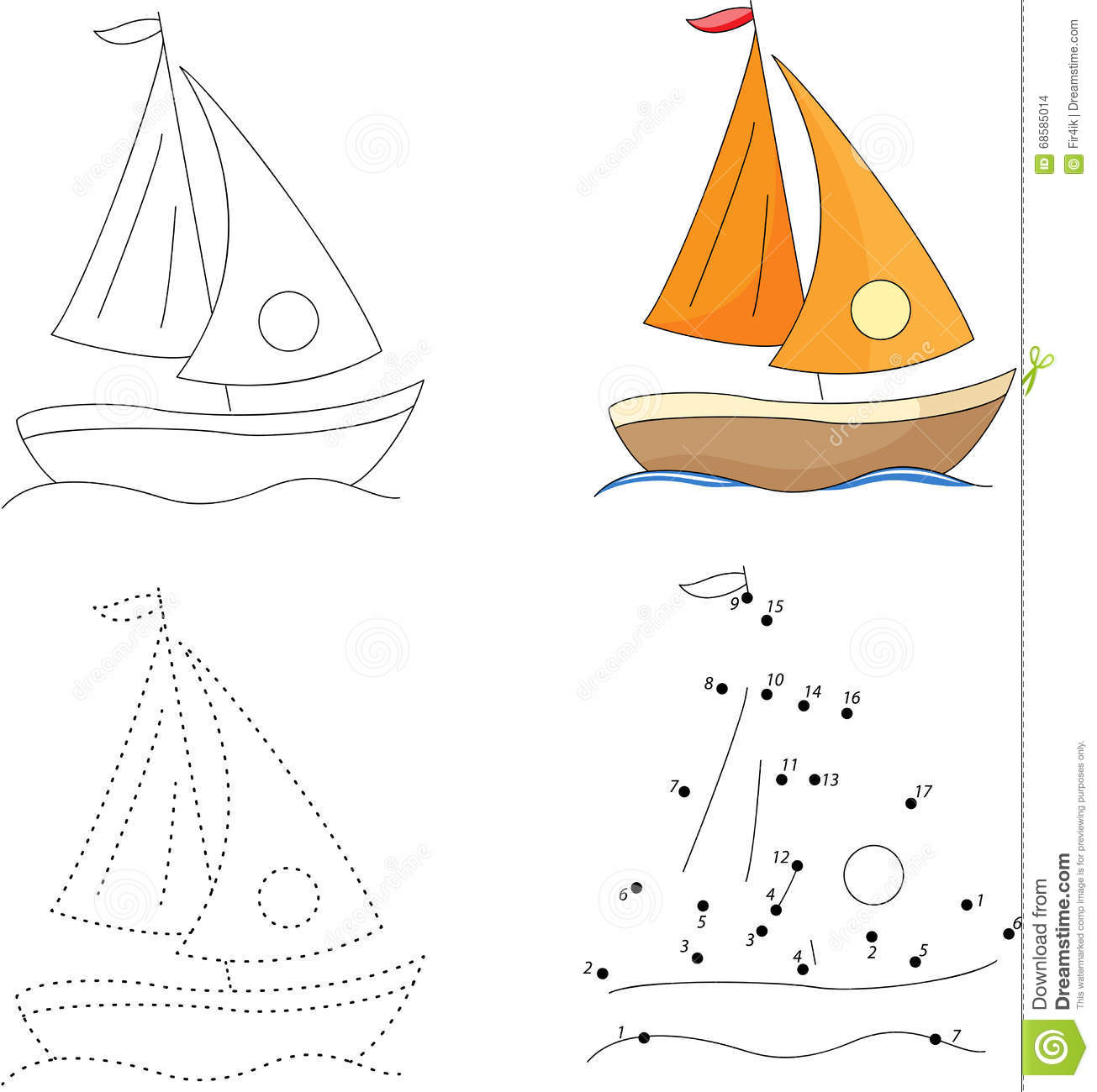 Cartoon Yacht Dot To Dot Game For Kids Stock Vector