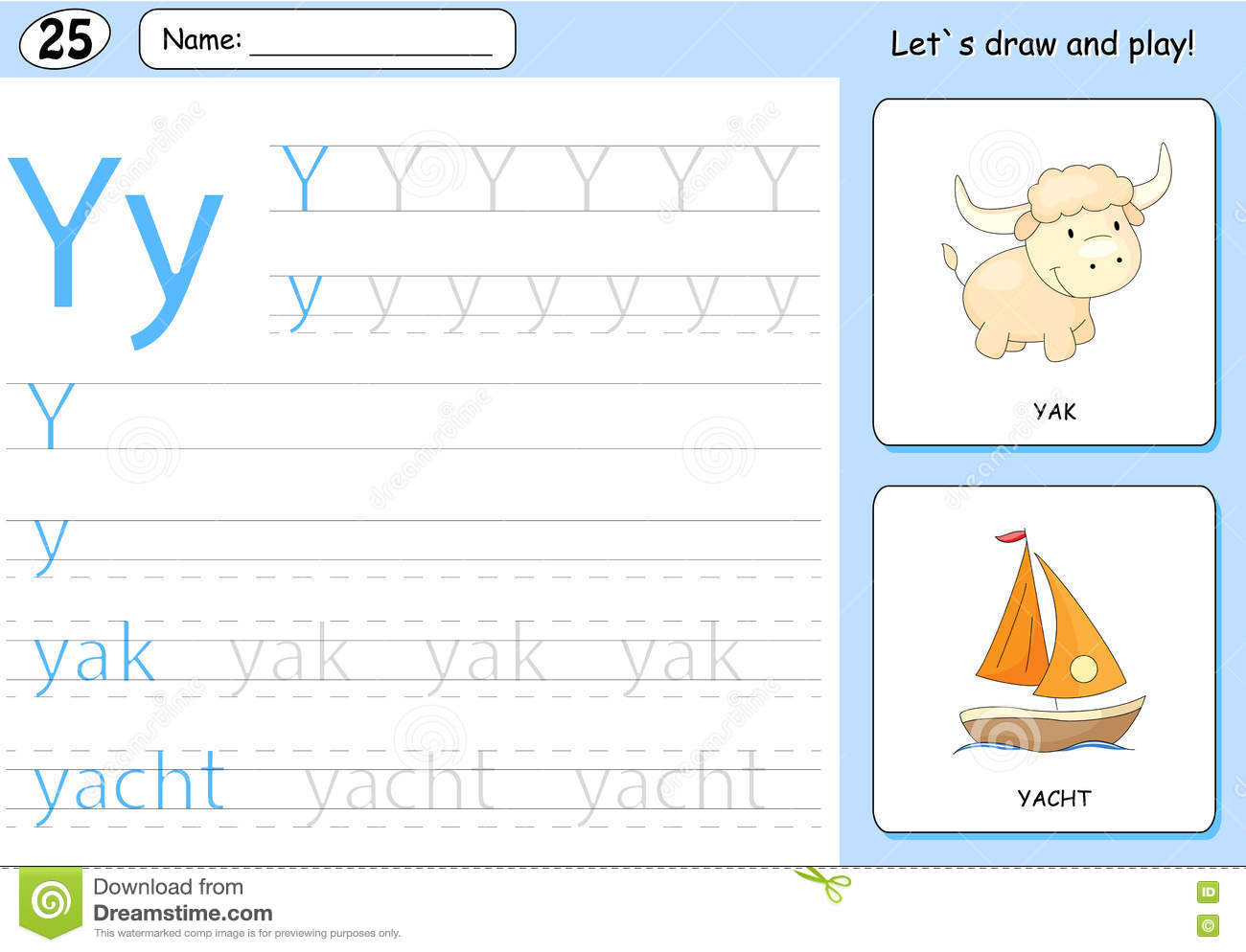 Cartoon Yak And Yacht Alphabet Tracing Worksheet Stock