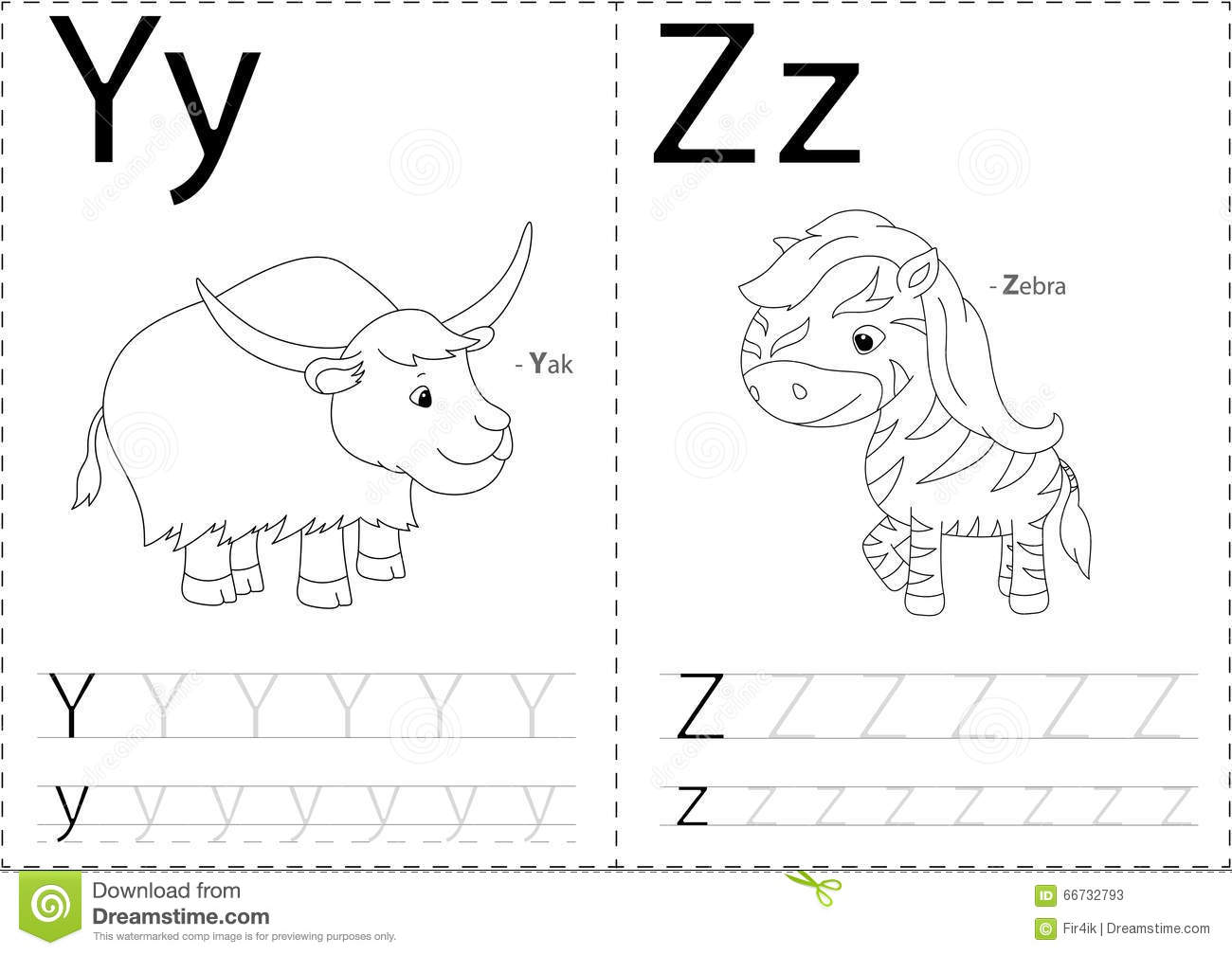 Cartoon Yak And Zebra. Alphabet Tracing Worksheet: Writing