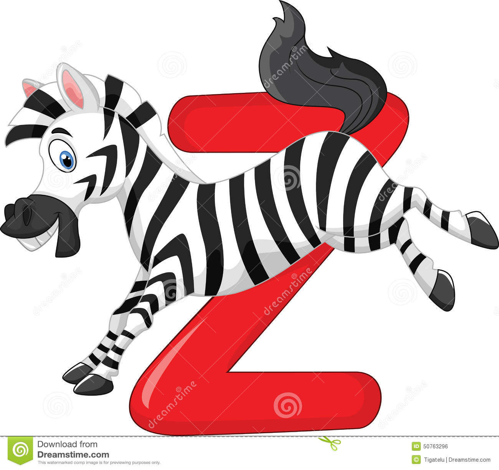 Cartoon Zebra With Alphabet Z Stock Vector