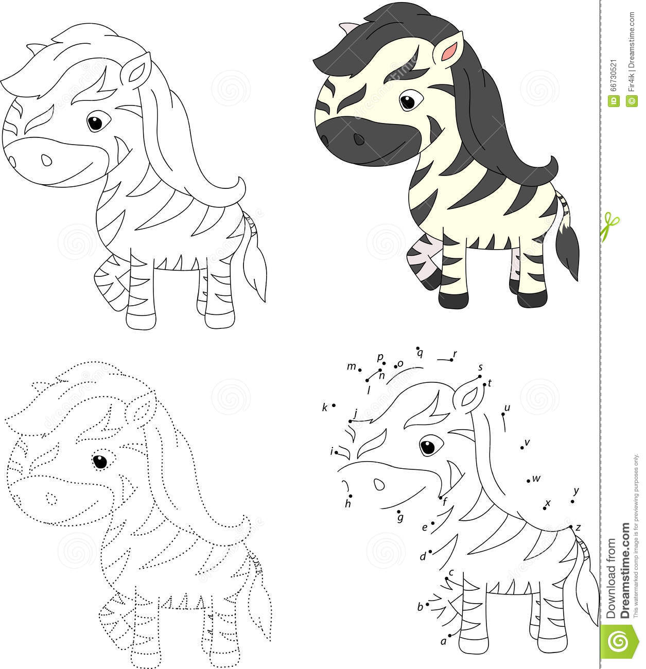 Cartoon Zebra Coloring Book And Dot To Dot Game For Kids