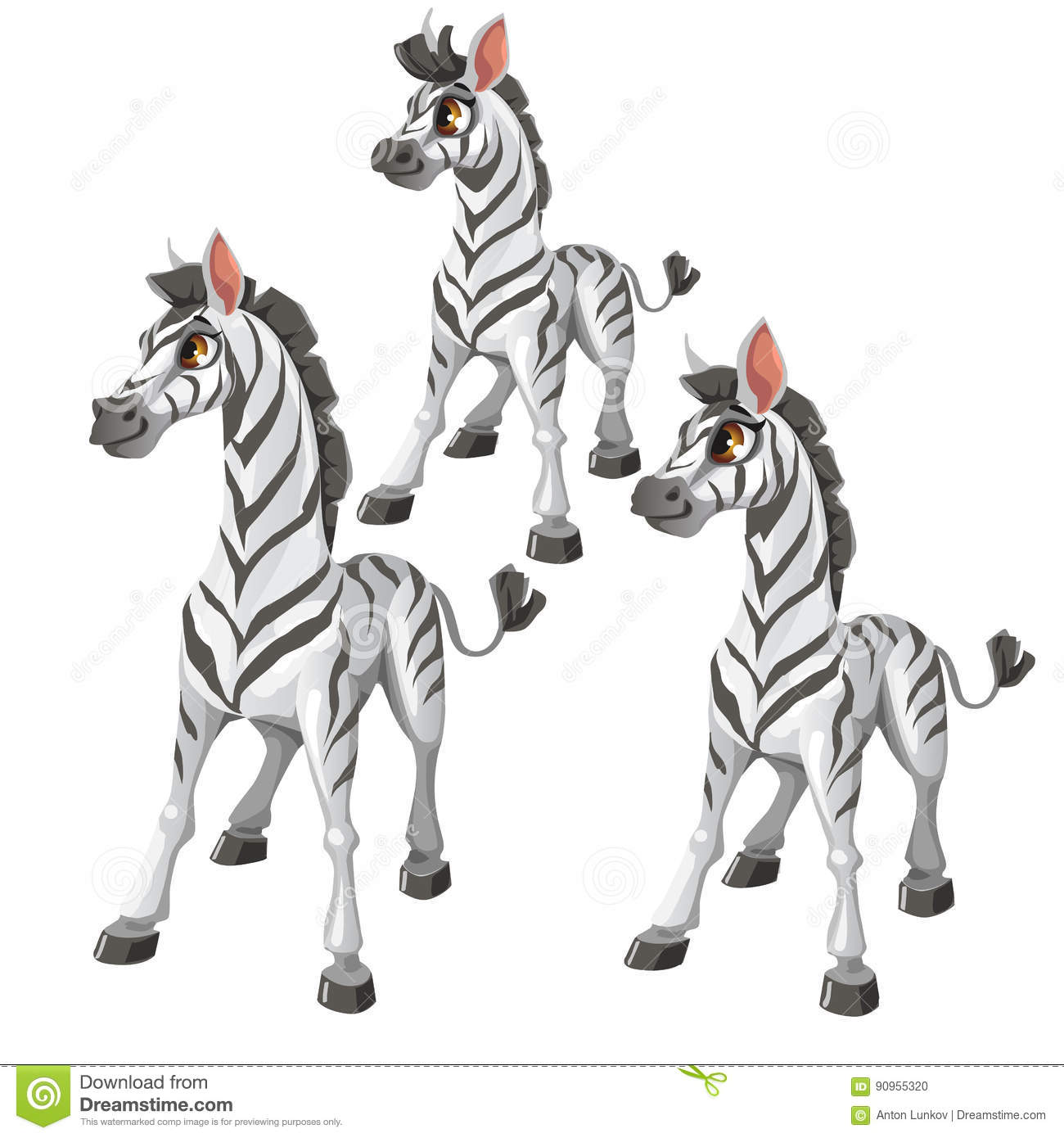 Cartoon Zebra On White Background Vector Animal Stock