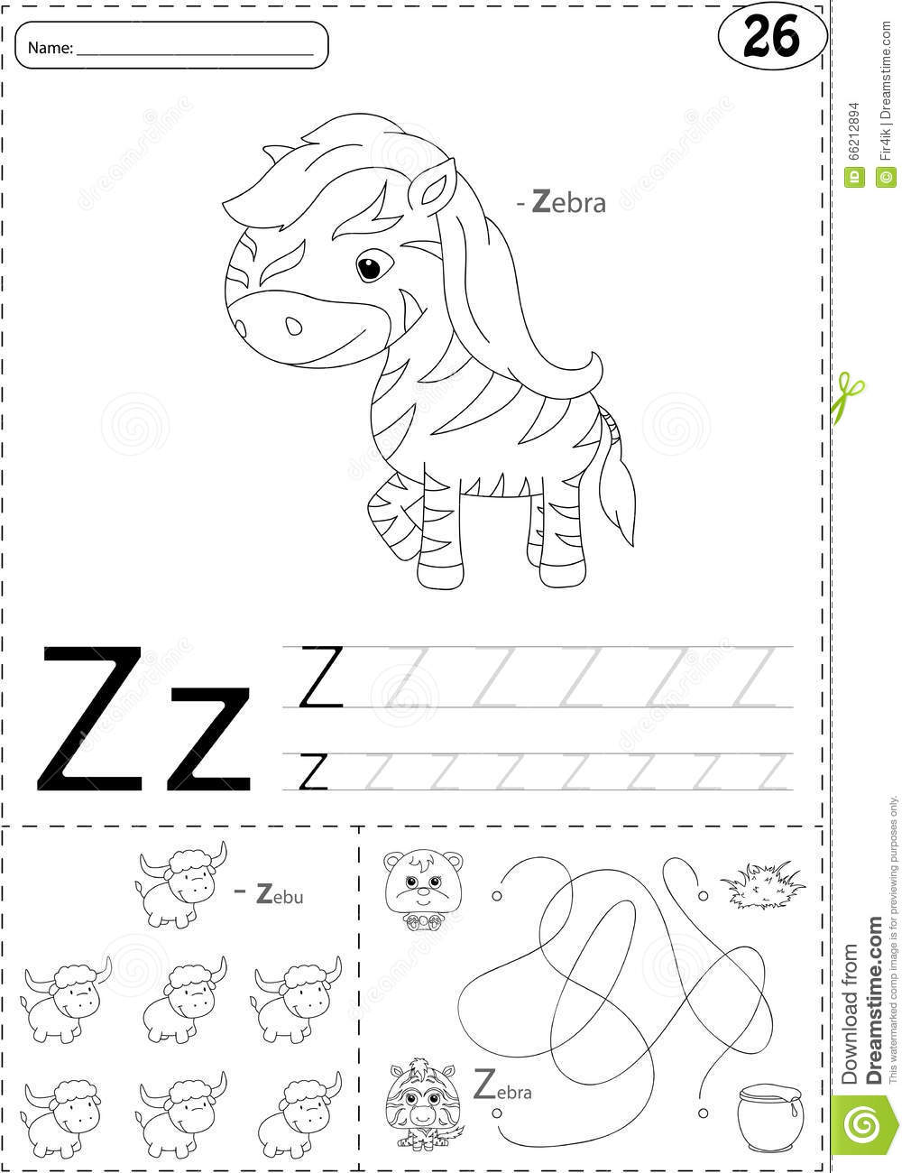 Cartoon Zebra And Zebu. Alphabet Tracing Worksheet