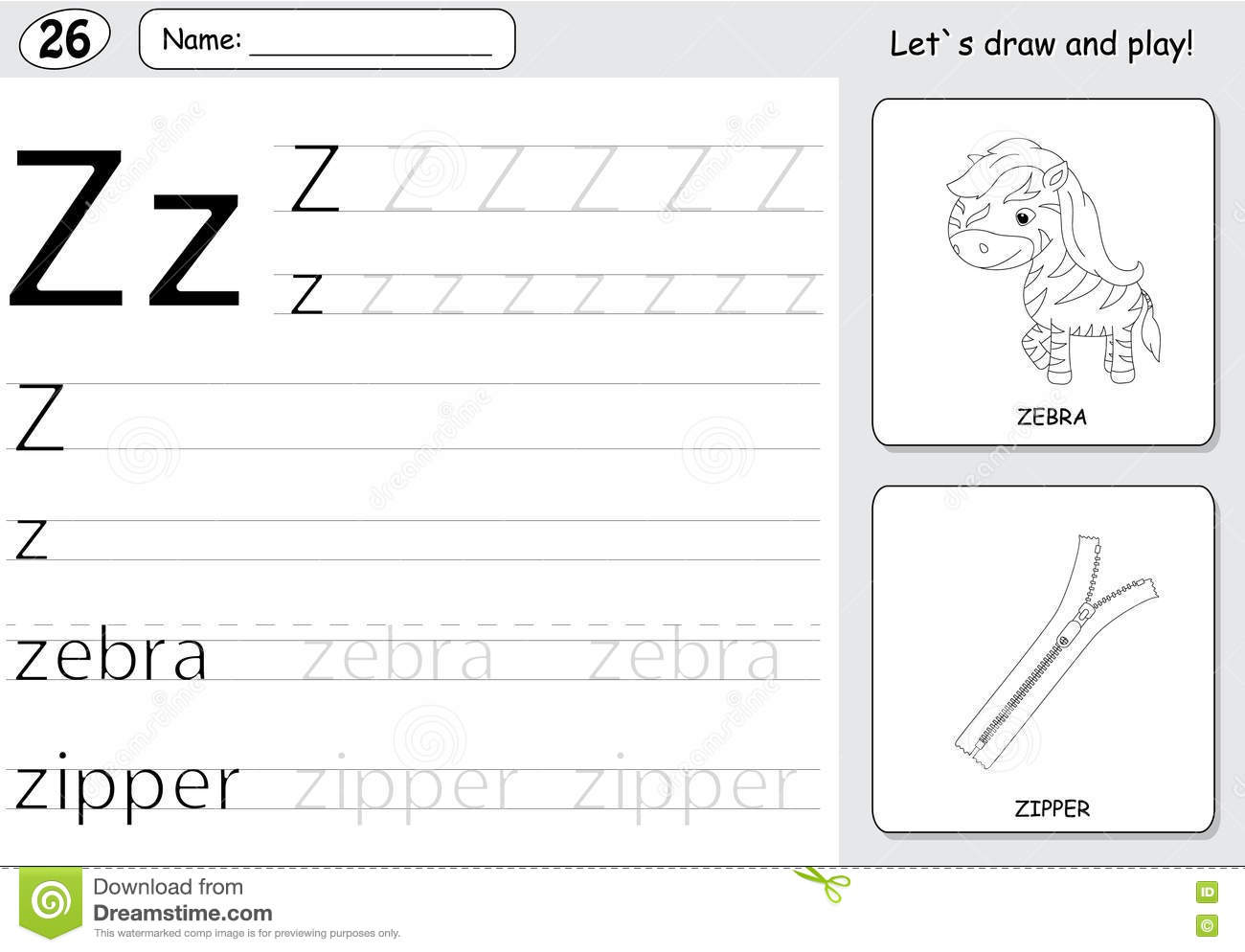 Cartoon Zebra And Zipper Alphabet Tracing Worksheet