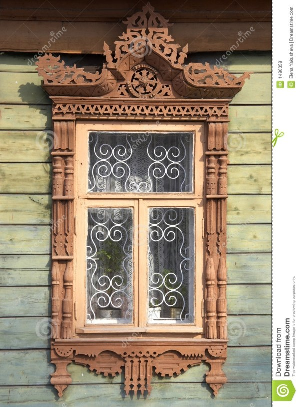 Carved Wooden Window Frame Royalty Free Stock