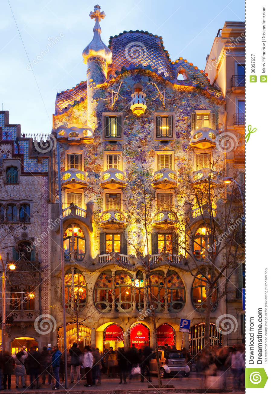 Casa Batllo In Night In Barcelona Editorial Photography