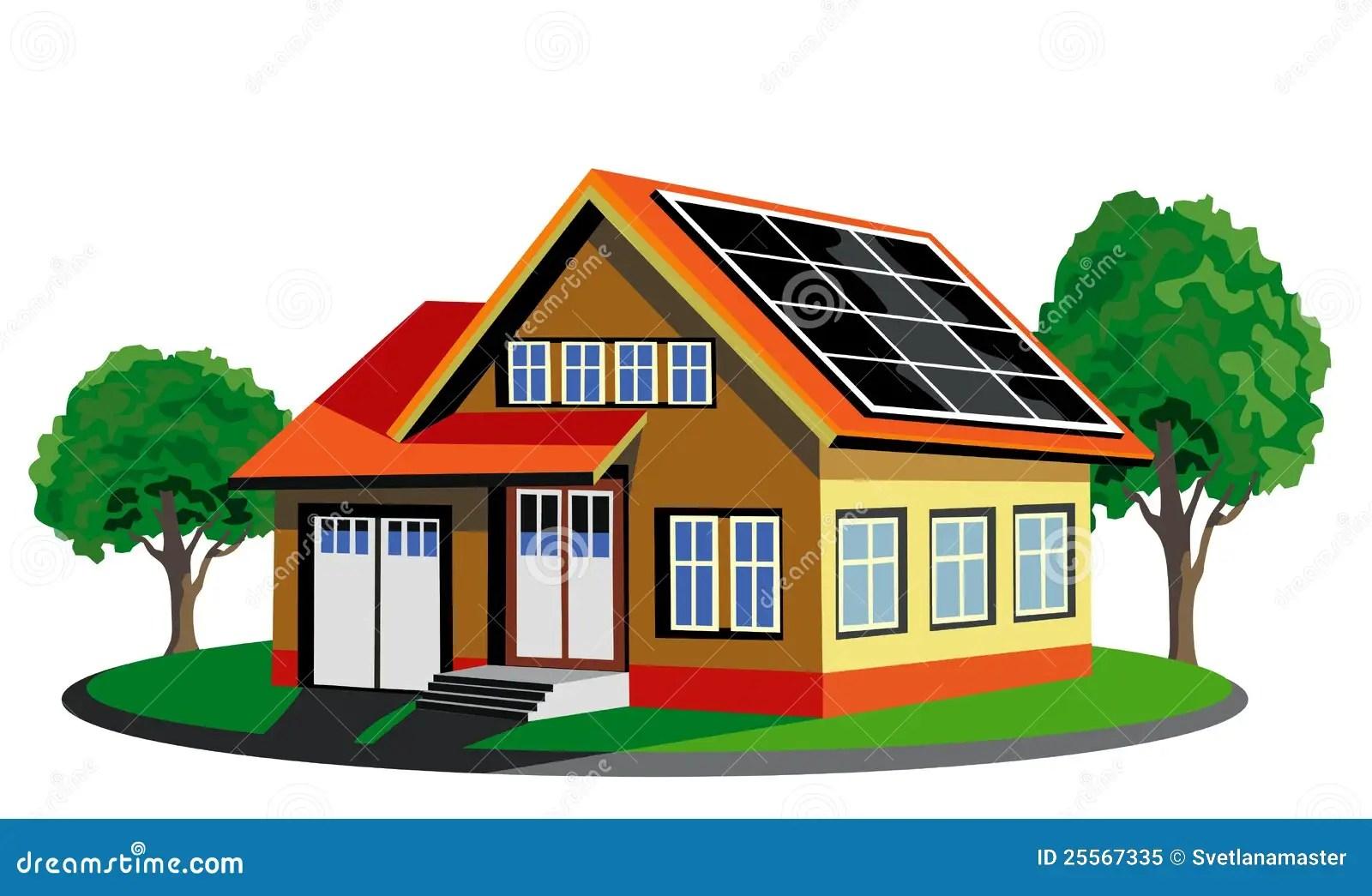 Casa Ecologica Con Pannel Solare Illustrazione Vettoriale  Illustrazione di luce ambientale