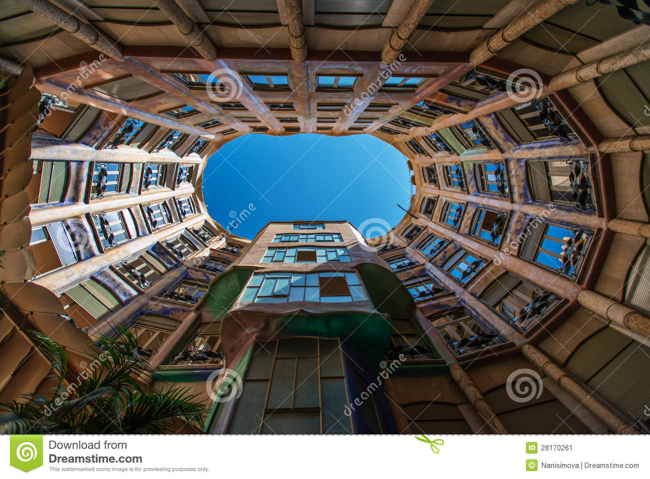 Casa Mila Inside Yard Barcelona Spain Editorial Photo  Image 28170261