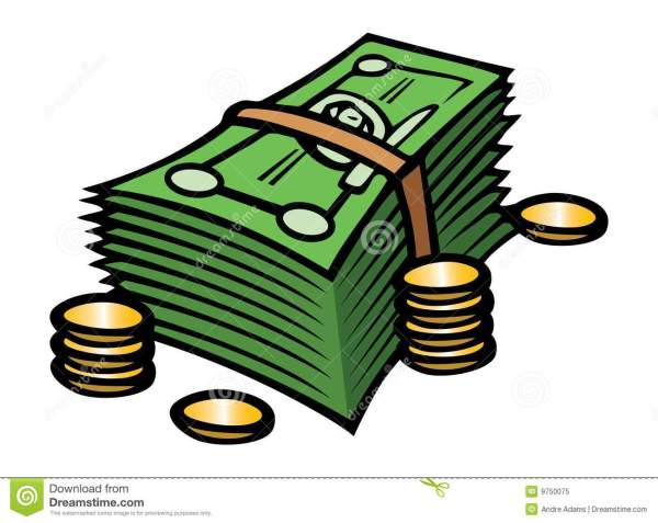 cash & coins stock vector. illustration
