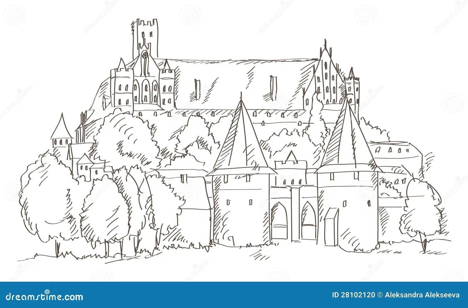 Castello Malbork Nel Disegno Della Mano Della Polonia