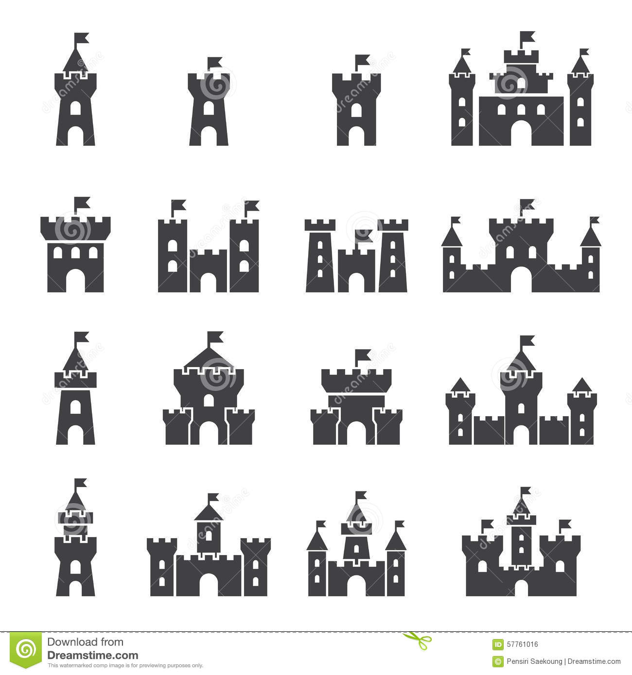 Castle Icon Set Stock Vector Illustration Of History