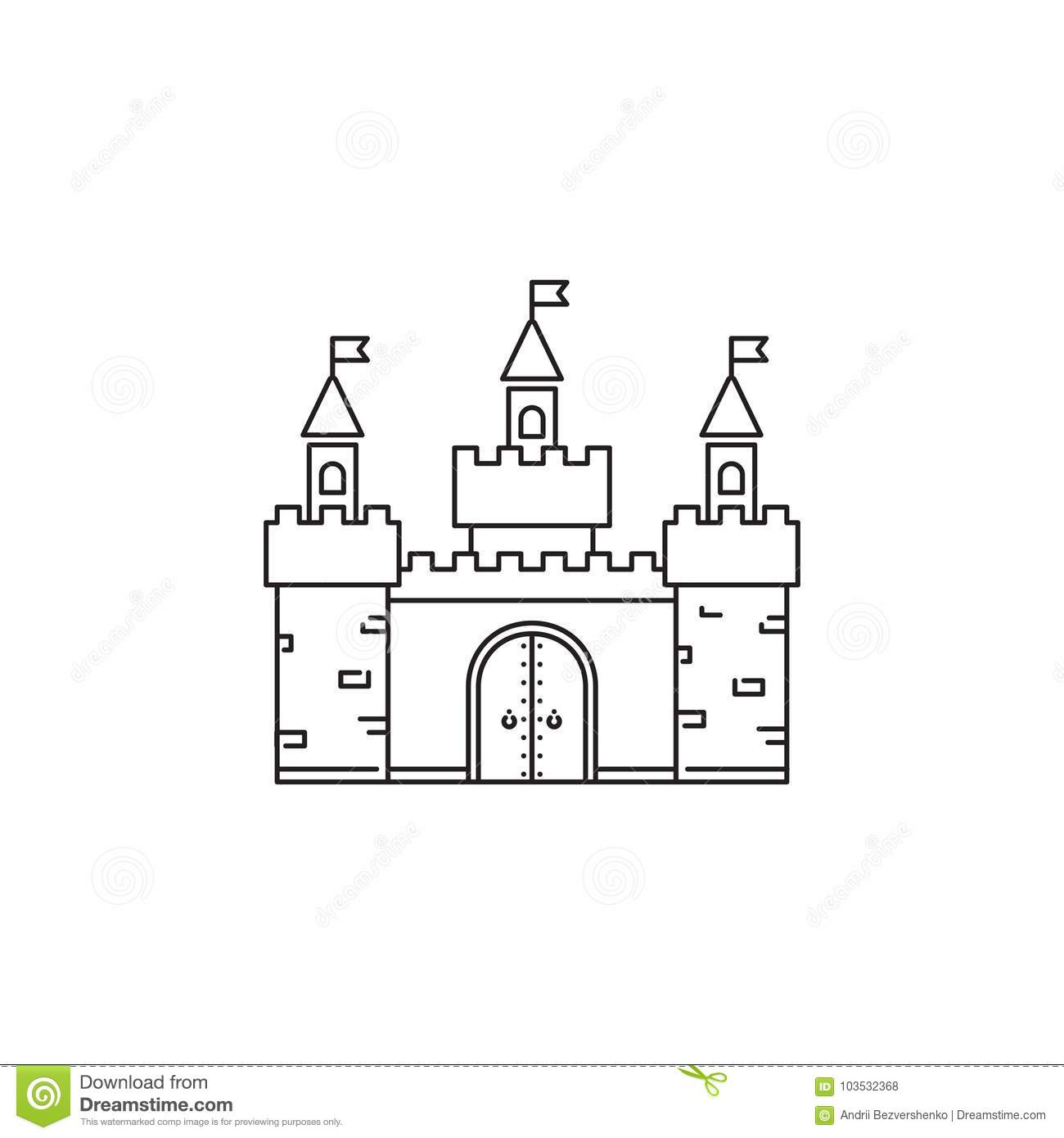 Castle Icon Vector Linear Design Isolated On White