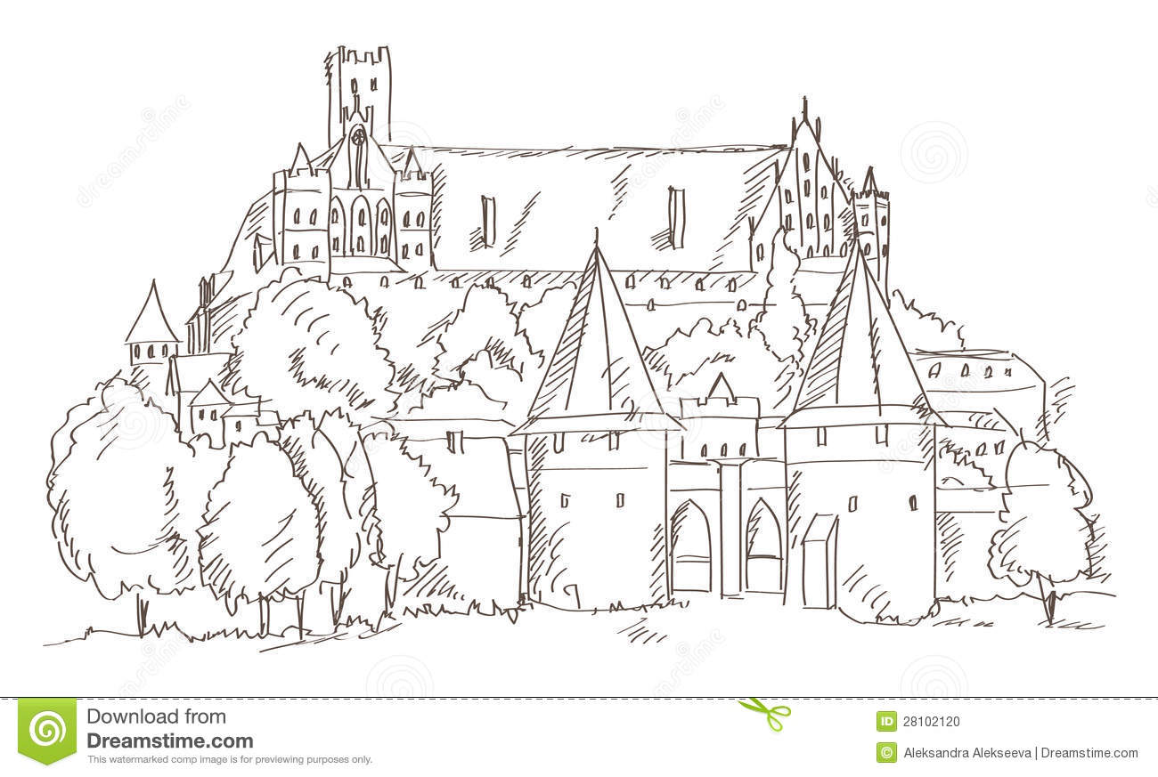 Castle Malbork In Poland Hand Drawing Stock Photo