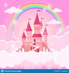 Castle Of Princess Fantasy Flying Palace In Pink Magic Clouds Fairytale Royal Medieval Heaven Palace Cartoon Vector Stock Vector Illustration of fairies fairytale: 145078972