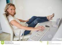 Barefoot Women Feet Up On Desk