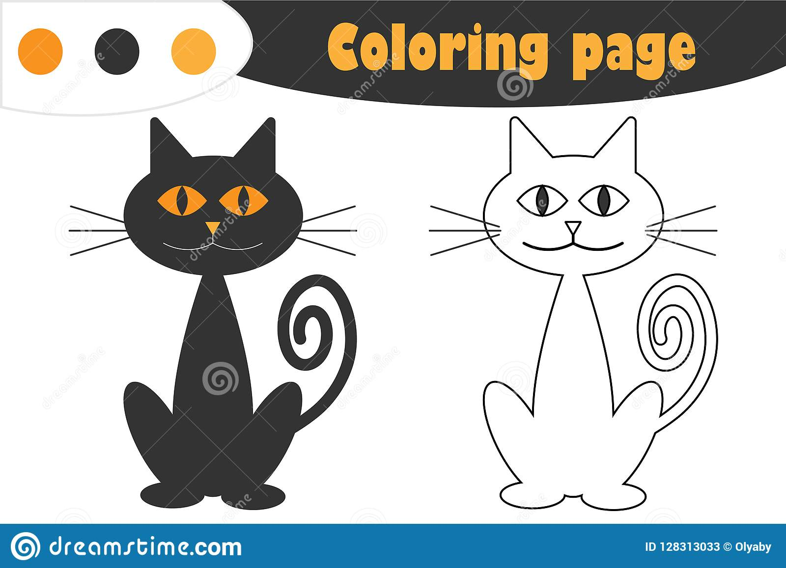 Cat In Cartoon Style Halloween Coloring Page Education