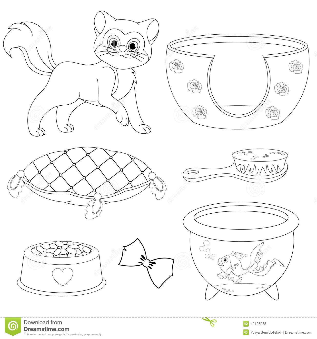 Cat With Different Toys And Accessories Coloring Book Page