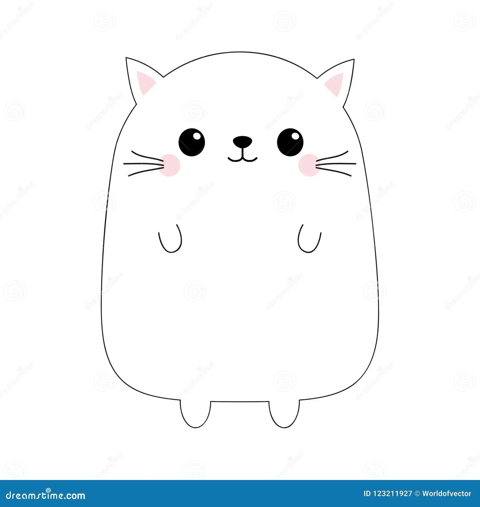Cat Kitty Face Head Body Black Contour Silhouette Doodle