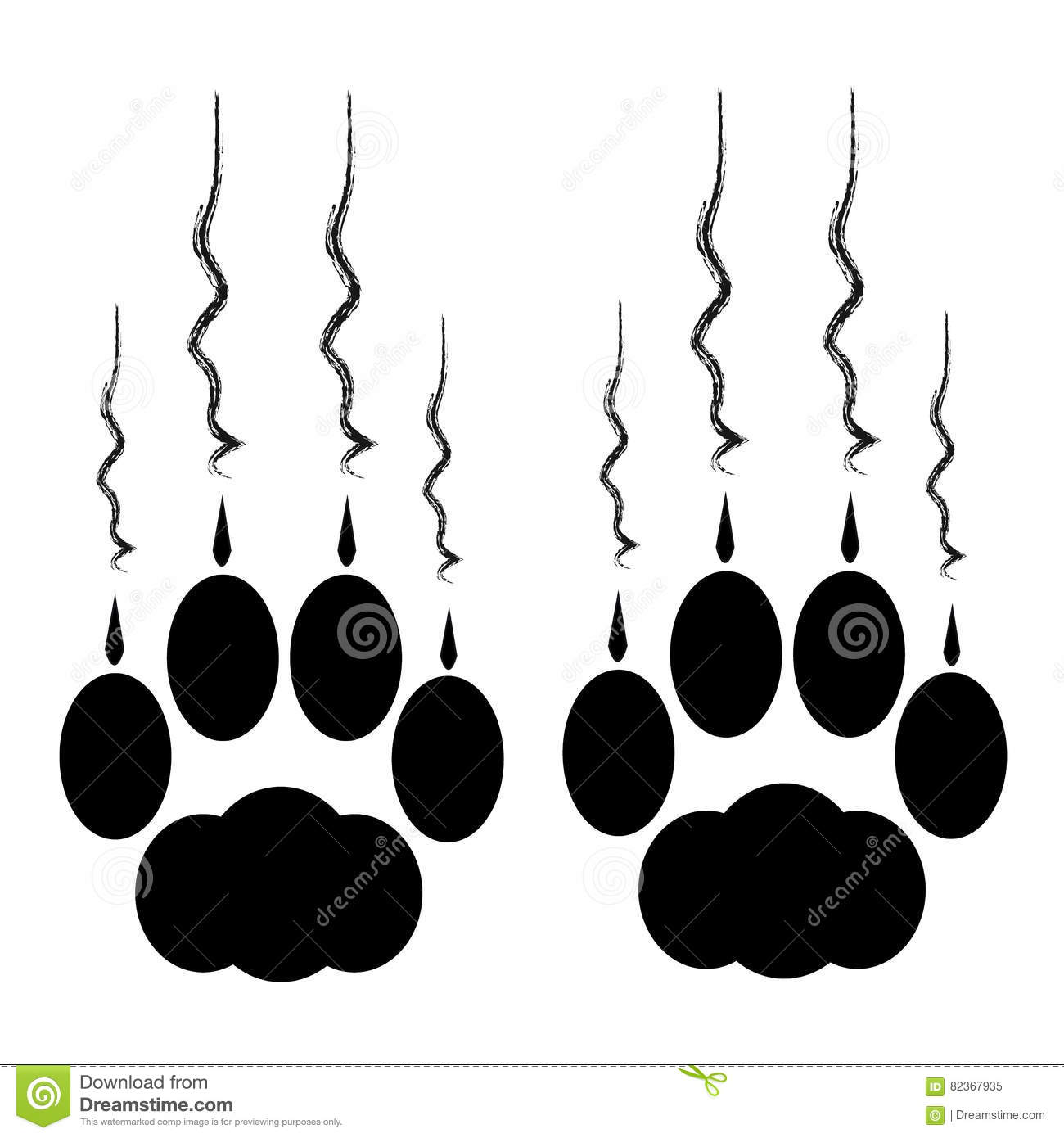 hight resolution of cat paws with claws and scratches on white background