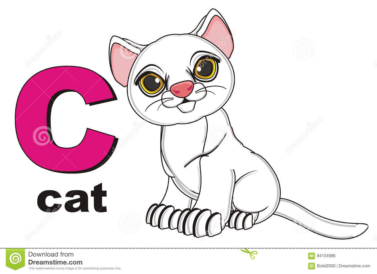 Cat And Pink Letter C And Name Cat Stock Illustration