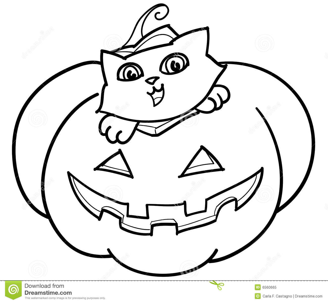 Cat In Jack O Lantern Vector Royalty Free Stock Photo