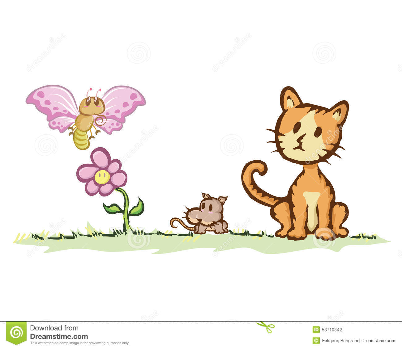 Cat And Rat With Butterfly Stock Vector