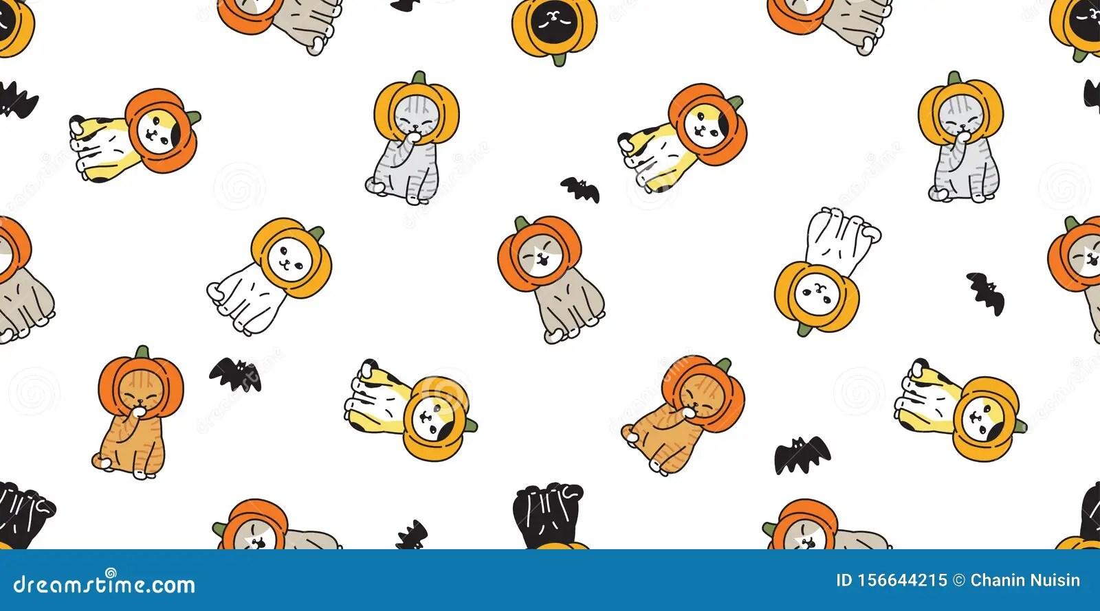 2000x1333 halloween black cat pumpkin. Cat Seamless Pattern Halloween Pumpkin Head Kitten Calico Bat Scarf Isolated Tile Background Repeat Wallpaper Cartoon Illus Stock Illustration Illustration Of Meow Icon 156644215