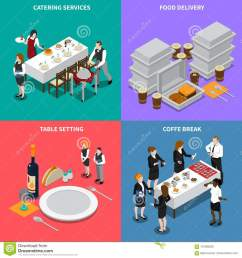 catering services isometric design concept [ 1300 x 1390 Pixel ]
