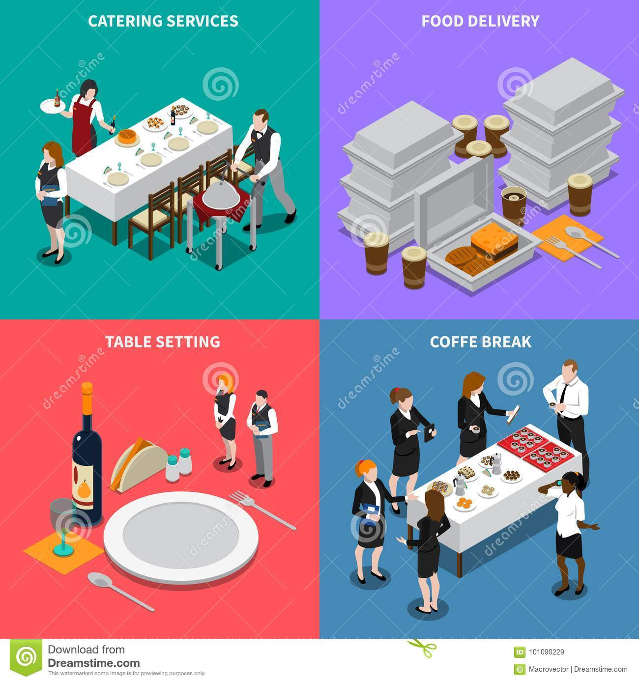 hight resolution of catering services isometric design concept