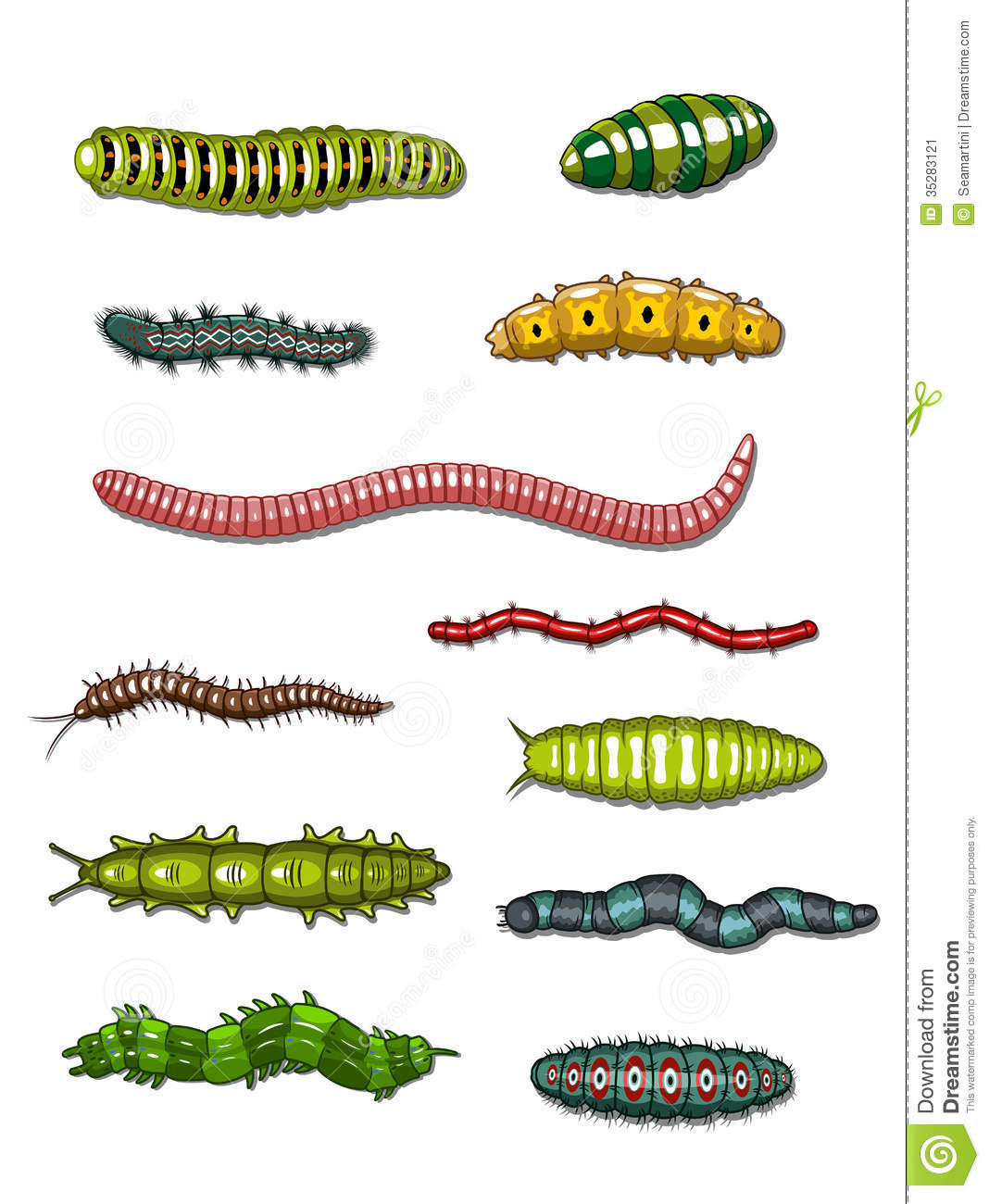 Caterpillars And Worms Stock Vector Illustration Of