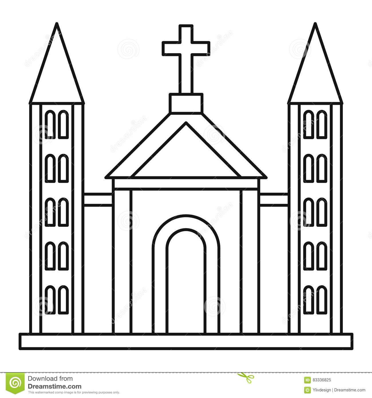 Catholic Church Building Icon Outline Style Stock Vector