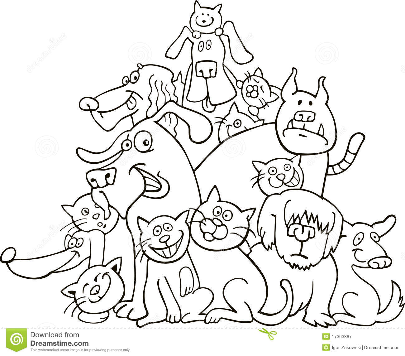 Cats And Dogs For Coloring Stock Vector Illustration Of