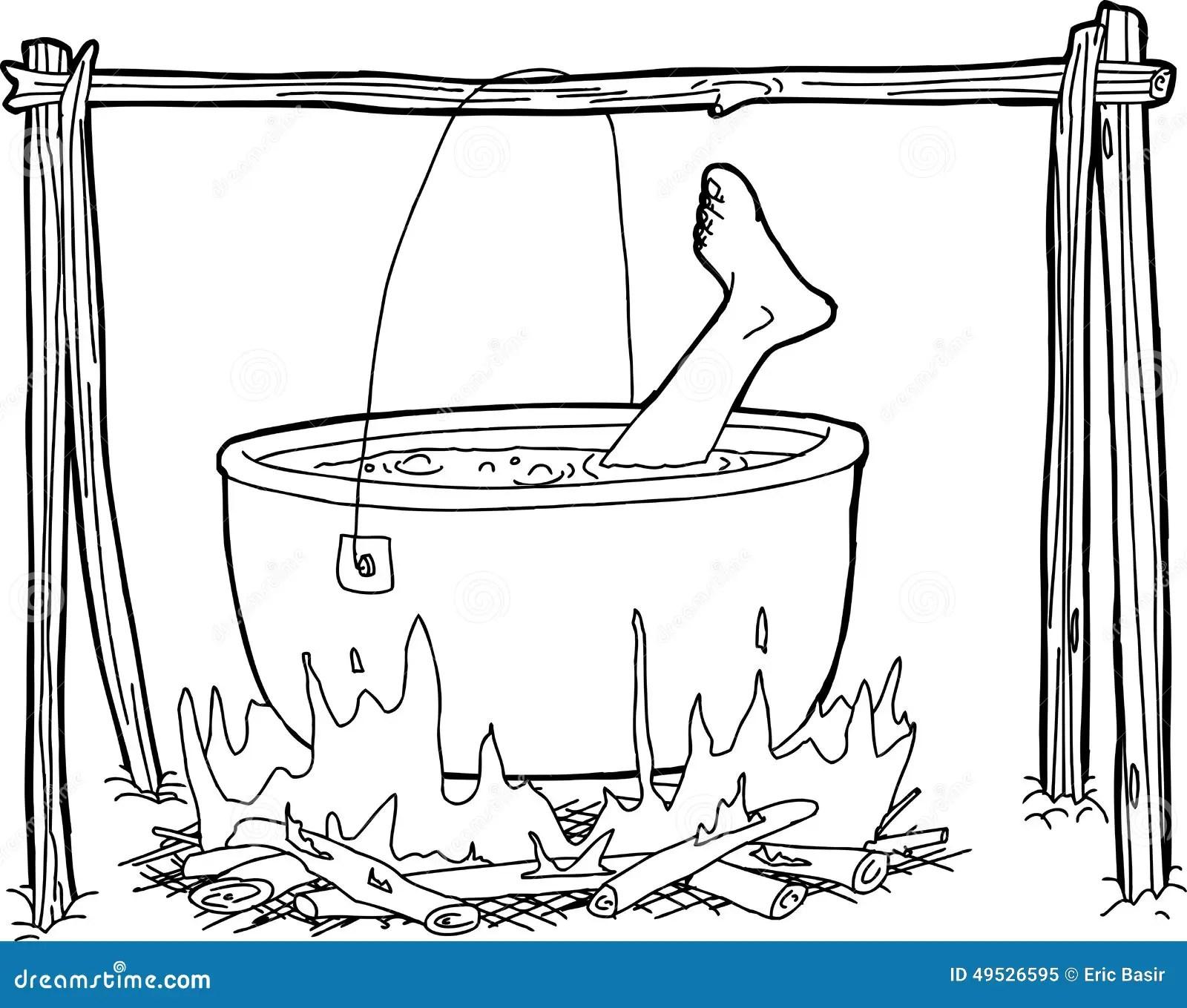 Cauldron With Human Foot Stock Illustration