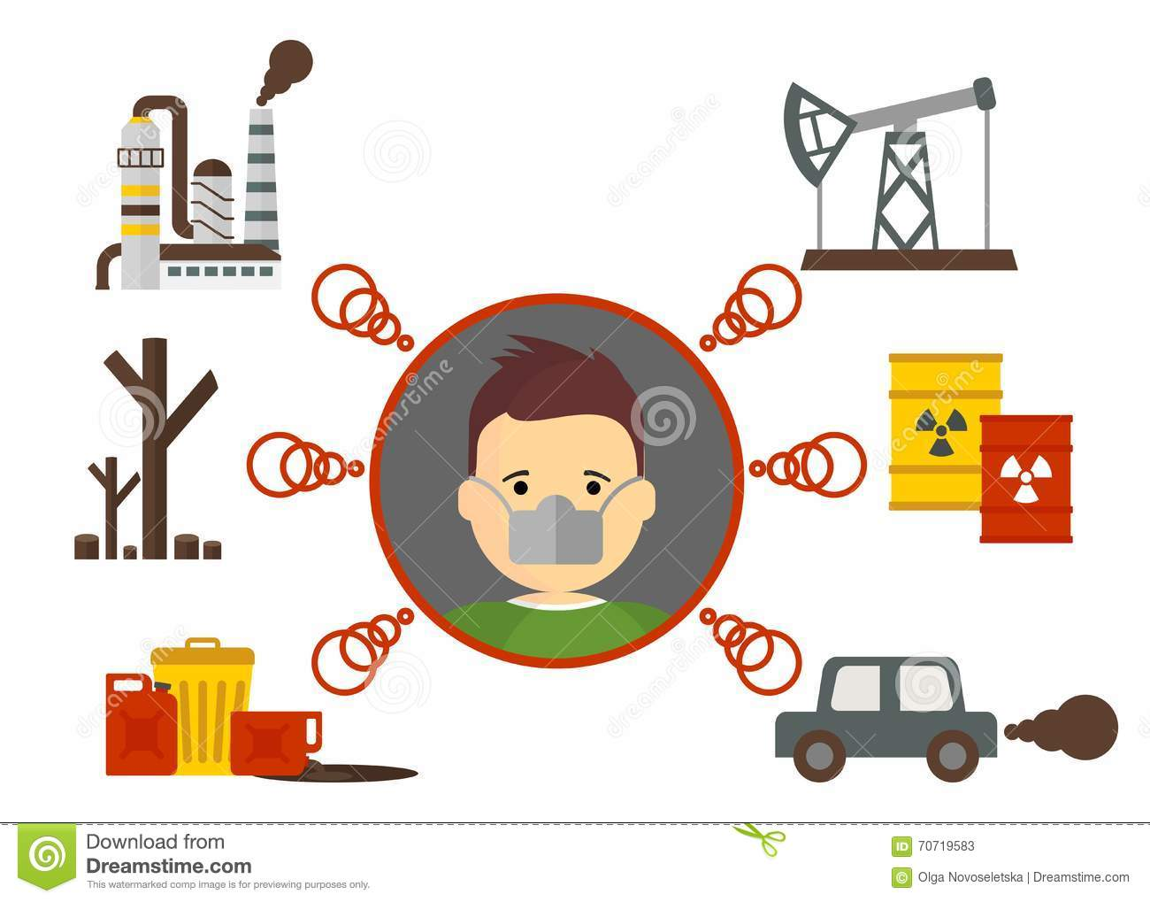 Causes Of Air Pollution Stock Vector Illustration Of