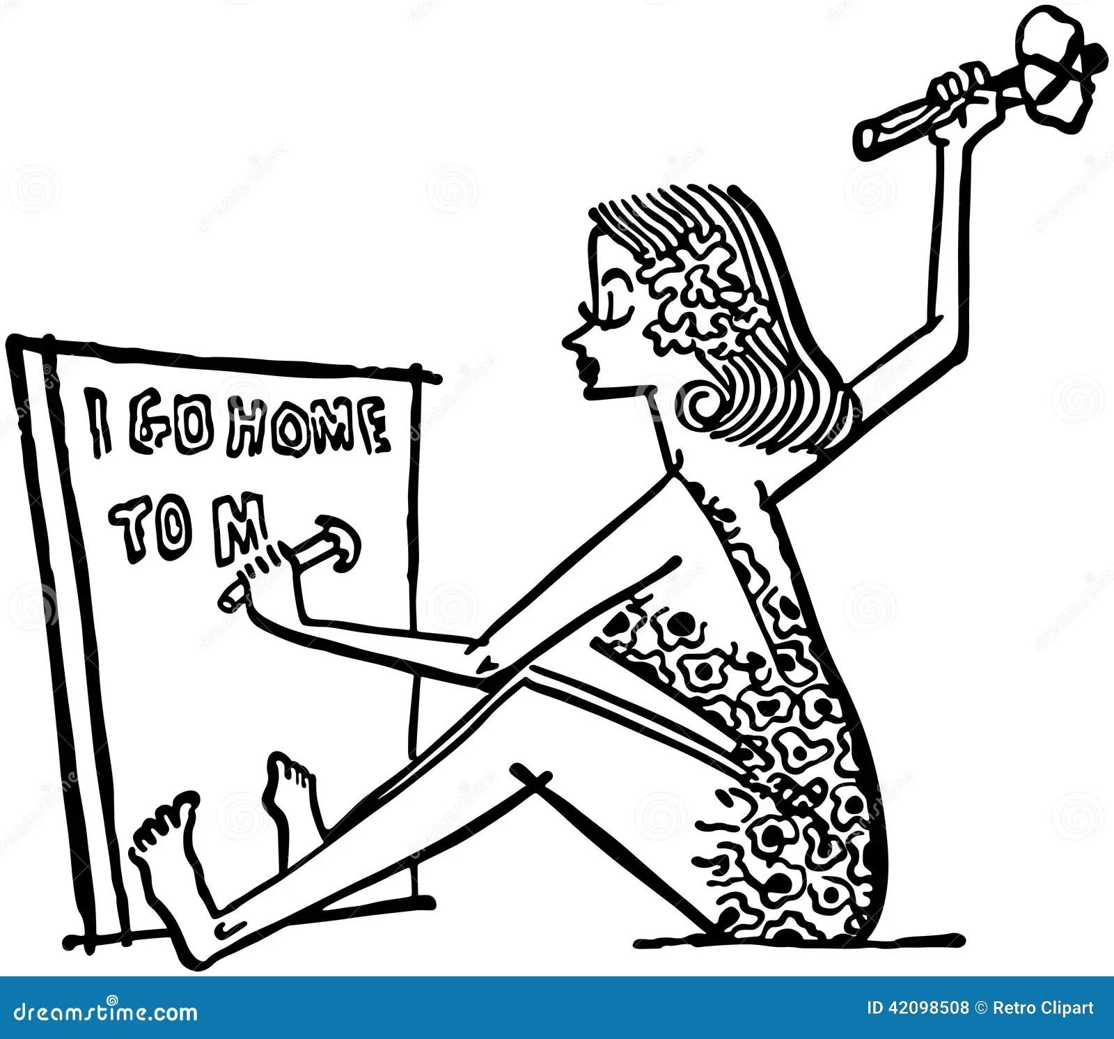 Cave Woman Writing Memo Stock Vector